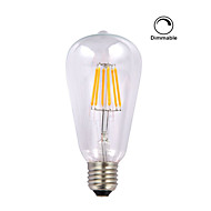 1 pièce kwb E26/E27 5W / 6W 6 COB 600 lm Blanc Chaud ST64 edison Vintage Ampoules à Filament LED AC 110-130 V