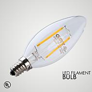 E12 LED-stearinlyspærer B 2 COB ≥200 lm Varm hvid Dæmpbar Dekorativ Vekselstrøm 110-130 V 1 stk.