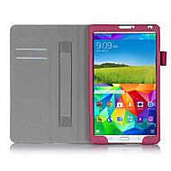 Voor Samsung Galaxy hoesje Kaarthouder / met standaard / Flip hoesje Volledige behuizing hoesje Effen kleur PU-leer Samsung Tab S 8.4