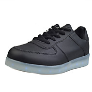 Women's Shoes Leatherette Spring / Summer / Fall Round Toe Outdoor / Casual / Athletic Flat Heel Lace-up Black