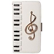 luxusním piano keyboard bling nota blesk diamantový pu kožená peněženka stojanu pouzdro pro samsungs7 / s7e