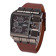 Herrn Militäruhr Armbanduhr Quartz Großes Ziffernblatt Leder Band Cool Schwarz Blau Rot Braun