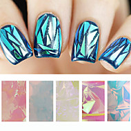 5pcs Holographic Shiny Laser Nail Art Foils Paper Candy Colors Glitter Glass Nail Sticker Decorations