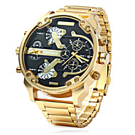 Men's Military Fashion Double Time Gold Steel Band Quartz Watch Wrist Watch Cool Watch Unique Watch