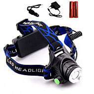 Lights Headlamps LED 2000 Lumens 3 Mode Cree XM-L T6 18650Adjustable Focus / Waterproof / Rechargeable / Impact Resistant / Strike Bezel