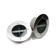 2pcs/lot Round Understand LED Solar Lamp Light Control 3 LEDs 3000K and 6000K