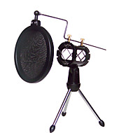 Shock Mount Microphone Stand Holder with Integrated Pop Filter Black Kit