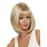 Women 12inch Short Cosplay Straight Synthetic Hair Wigs Blonde Full Bang with Free Hair Net