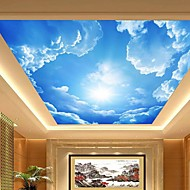 3D Shinny Leather Effect Large Lobby Ceiling Mural Wallpaper Blue Sky And Clouds Ceiling Painting Art Decor