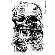 21 * 15cm groot grote tatoeage sticker halloween schedel zwarte ontwerpen tijdelijke tattoo skelet slang bloem