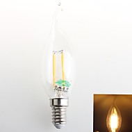 4W E14 Luces LED en Vela C35 4 COB 380 lm Blanco Cálido Decorativa AC 100-240 V 1 pieza