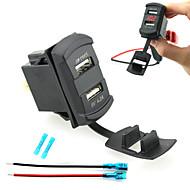 デュアルUSB車の充電装置は、ワイヤと絶縁された熱収縮コネクタを備えたデジタル表示電圧計を率いiztoss