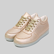 Women's Shoes Leatherette Spring / Summer / Fall Round Toe Outdoor / Casual / Athletic Flat Heel Lace-up Black / Pink / White / Silver