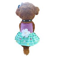 개 드레스 퍼플 강아지 의류 여름 하트