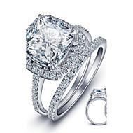 指輪 スクエア ファッション / 誕生石です. 結婚式 / パーティー / カジュアル ジュエリー 純銀製 女性 バンドリング 1個,6 / 7 / 8 シルバー