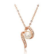 Dame Par Halskædevedhæng Perlehalskæde Krystal Perle Krystal Imiteret Perle Kvadratisk Zirconium Legering Mode Yndig Sølv Gylden Smykker