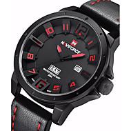 NAVIFORCE 男性 軍用腕時計 カレンダー クォーツ 日本産クォーツ レザー バンド カジュアルスーツ ブラック カーキ