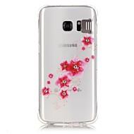 Mert Samsung Galaxy S7 Edge Strassz / LED zseblámpa / Átlátszó / Minta Case Hátlap Case Virág Puha TPU Samsung S7 edge / S7 / S6