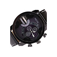 Men's Watch Large Case Leather Band Analog Quartz Black/Brown Band Fashion Casual Watch