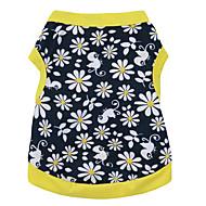 고양이 / 개 티셔츠 옐로우 강아지 의류 여름 꽃 / 식물 패션