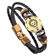 Heren Dames Lederen armbanden Modieus Sierstenen Leder Ronde vorm Dierenvorm Leeuw Zwart Sieraden Voor Dagelijks Causaal 1 stuks