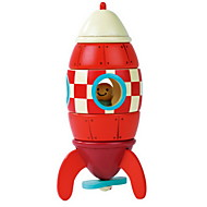Red Rocket Wooden Magnetic Building Toy