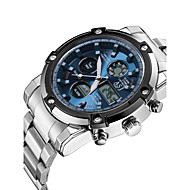 ASJ® Men's Sport Watch Japanese Quartz LCD Chronograph Water Proof Dual Time Zones Stopwatch Noctilucent Stainless Steel Band Wrist Watch