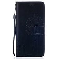 Para Samsung Galaxy S7 Edge Carteira / Porta-Cartão / Com Suporte / Flip / Com Relevo Capinha Corpo Inteiro Capinha Dente de Leão Macia