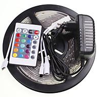 5m 16.4ft vedenpitävä rgb 300x5630 SMD led joustava LED-valo nauhat +24 avain ir 12v 2a virtalähde ac100-240v