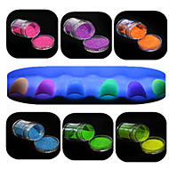 1 Set Nail Art Beautiful Noctilucent Powder Colorful Color Glitter Shining Nail Beauty Decoration YG01-06
