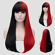 Red and black long straight hair and the wind nightclub performances Street color million with a partial wig.