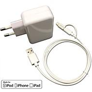 CE-certificeret eu rejse oplader 1a / 2.1a dobbelt udgang + æble mfi certificeret lyn + micro USB-kabel til iPhone 6s