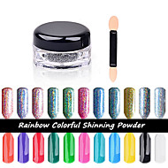 2g/Box Shinning Rainbow Nail Glitter Powder Perfect Holographic Nails Mirror Powder Dust Laser Silver Nails Pigment