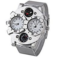 Oulm Herren Militäruhr Quartz Japanischer Quartz Compass Thermometer Duale Zeitzonen Edelstahl Band Cool Silber Weiß Schwarz Braun
