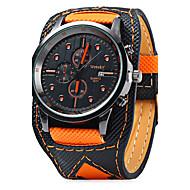 Men's Wrist watch Quartz Calendar / Leather Band Cool Casual Black Orange