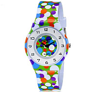 CAGARNY Kinderen Polshorloge Kwarts Kleurrijk Plastic Band Gestipt Snoep Cool Vrijetijdsschoenen Meerkleurig Regenboog