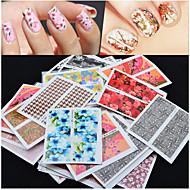 Mix 50pcs/pack Flower Design Nail Sticker Watermark Decals