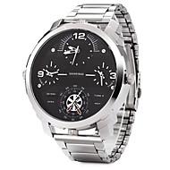 SHI WEI BAO Herren Militäruhr Modeuhr Armbanduhr Quartz Duale Zeitzonen Drei-Zeit-Zonen Edelstahl Band Cool Schwarz SilberSchwarz/Weiß