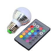 3W RGB E27 Bulb Lamp / Remote Control Colorful LED Bulb(AC 85-265V)