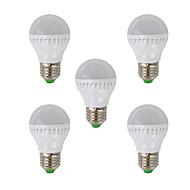 ZDM™ 5W E26/E27 LED Globe Bulbs G45 26 SMD 3022 350 lm Warm White AC 220-240 V 5 PCS