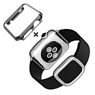 Modern Buckle Genuine Leather Strap Magnetic Closure Replacement Wristband for Apple Watch 38mm 42mm
