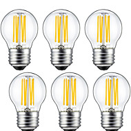 kwb 6 Pcs 6W E26/E27 LED Filament Bulbs G45 6 COB 560 lm Warm White Decorative(220-240V)