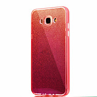 Dla samsung galaxy j7 (2016) j7 solidny kolor migający niebieskie światło pc tpu akrylowy triple material obudowa telefonu