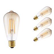 4W E26/E27 フィラメントタイプLED電球 ST64 4 COB 350 lm アンバー 明るさ調整 / 装飾用 交流220から240 V 4個