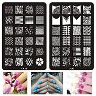 1szt paznokci szablon drukowania kliszy drukarskiej paznokci drukowania Kwadratowa płyta stalowa serii CK