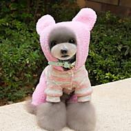 犬用品 コスチューム パーカー ジャンプスーツ 犬用ウェア 冬 春/秋 縞柄 キュート コスプレ Brown ピンク