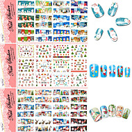 3 Sheets  Christmas Designs Snowflakes Xmas Tips Nail Art Sticker Sets Decorations Watermark for New Yea (Difference Designs Random)