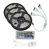 15m (3 * 5m) 3528 rgb 900 leds strip flexibel licht LED tape lichtslingers waterproof ac 12v 600leds met 44Key ir controller kit