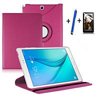 Pour Avec Support Clapet Rotation 360° Coque Coque Intégrale Coque Couleur Pleine Dur Cuir PU pour Samsung Tab A 9.7