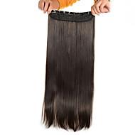 숙녀를위한 머리 연장에서 5 클립 긴 직선 밝은 갈색 (# 6) 합성 헤어 클립